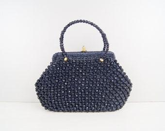 blue beaded handbag, evening bag dark blue, handle bag 50s
