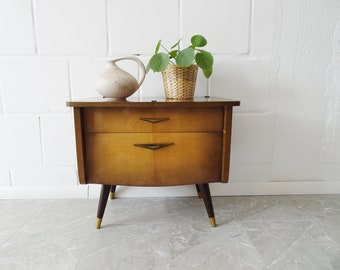Mid Century bedside table with drawer and compartment, small dresser, dark brown veneered night cabinet