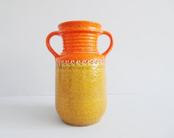 Amphora floor vase in orange ochre yellow, large vase with two handles and fat lava glaze