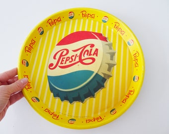 Pepsi Cola Tray Yellow from the 1950s, Round Serving Tray, Mid Century Tin Advertisement