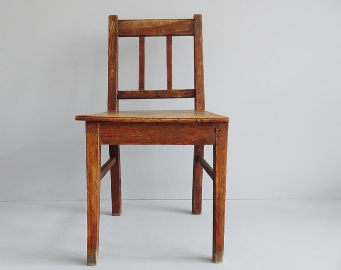 Featured listing image: antique children's chair made of oak, primitive small wooden chair