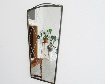 50s brass wall mirror with polished in diamond pattern, kidney-shaped mirror
