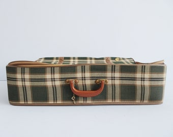 green brown checkered suitcase, fabric travel suitcase