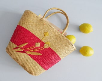 Vintage straw bag lined, basket bag 60s
