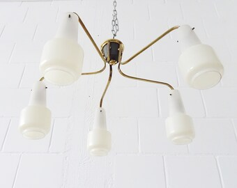 Chandelier five-armed, Sputnik hanging lamp brass and glass, 50s ceiling lamp