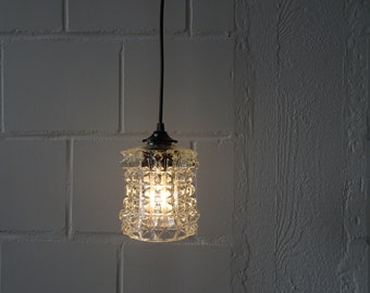 minimalist hanging lamp with glass shade, small pendant lamp
