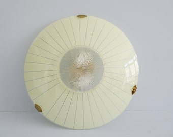 large mid century wall or ceiling lamp in glass with graphic pattern