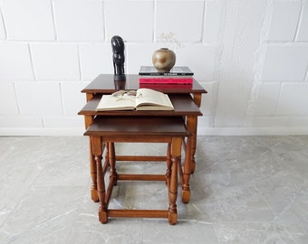 Set of three stackable wooden tables, primitive addtables, set tables