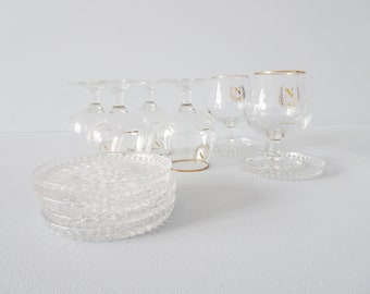 Shot glasses with glass coasters six-piece made of glass and lead crystal, Bar Set Mid Century