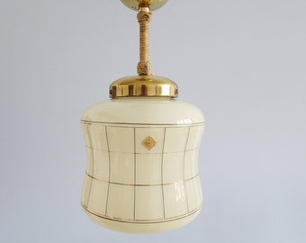 Doria ceiling lamp in glass and brass, Mid Century lighting, hallway lamp