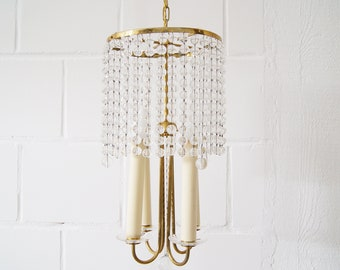Chandelier antique with glass beads in brass four-flame, boho lamp