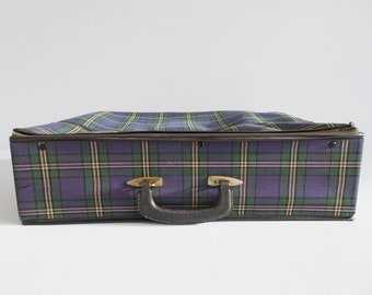 checkered retro suitcase purple green, travel suitcase, storage