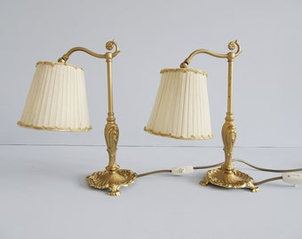 Bedside lamps set metal with fabric shades, antique style table lamps pair,