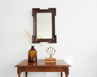 great founding era mirror, antique wall mirror in wooden frame