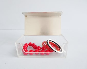 WMF casket in acrylic plexiglass and silver plated lid, Sigrid Kupetz design, jewelry box, servieten box