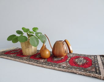 small oriental rug runner with fringes, oriental carpet runner signed