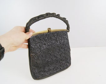 black handle bag in leather, art deco handbag, simple evening bag
