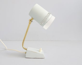 light blue bedside lamp with tiltable head in metal, glass and brass, blue white table lamp 1960s