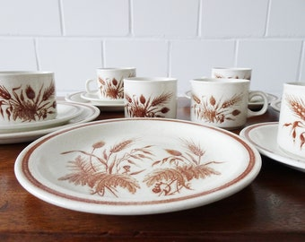 Ceramic coffee service with field flowers in beige brown, 17piece vintage service