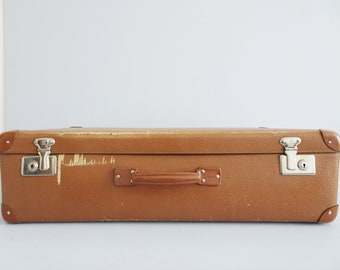 Suitcase cognac colours, hard shell case, large brown suitcase with checkered interior