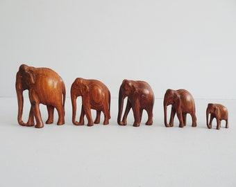 Elephant wooden figures set, carved elephant herd, wooden figurines