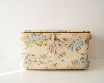 Laundry chest 50s in beige and pastel floral pattern, laundry basket, laundry container, laundry puff