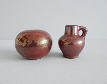 Otto Ceramic Set, OTTO Vase and Tea Light Holder in Metallic Berry Tone, West German Mid Century Pottery