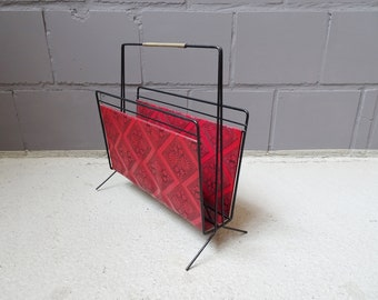 Newspaper stand metal red black, magazine stand mid century