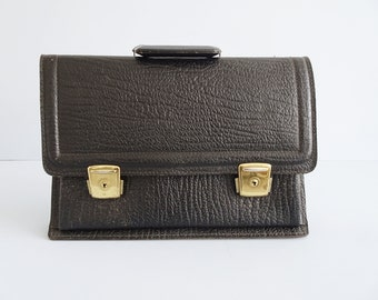 black briefcase in embossed leather, document bag by Tourist