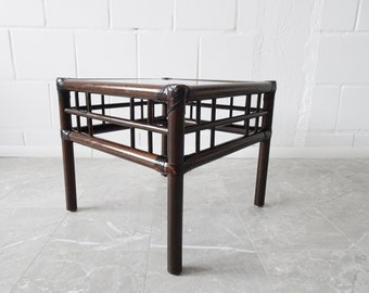 Bamboo coffee table with rattan and smoked glass, dark bamboo side table