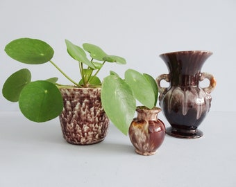 Ceramic Set Brown Art Deco, Jasba Vase and Flower Pot, Brown Mid Century Planters