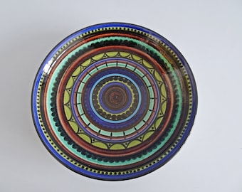large ceramic wall plate blue green x 41 cm, collectible plate, handicrafts, mid century wall pottery