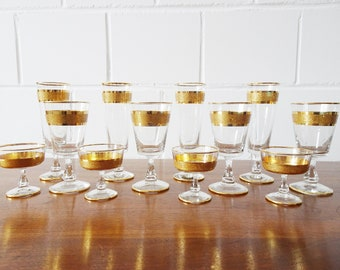 gilded drinking glasses set, twelve-piece glass set, sparkling wine glass, liqueur glass, wine glass