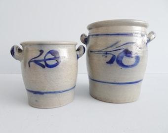 Sauerkrauttopf Set, old clay pot, lard pot, kitchen storage, stoneware