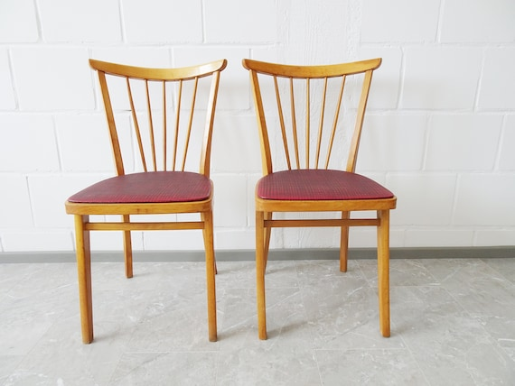 Kitchen chair set made of wood with red seat, rungs chair