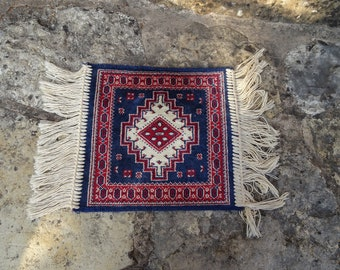small carpet with fringes, oriental carpet runner blue red, knotted mini mat