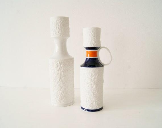 White sponge porcelain vases by KPM Royal, mid century vase, real cobalt