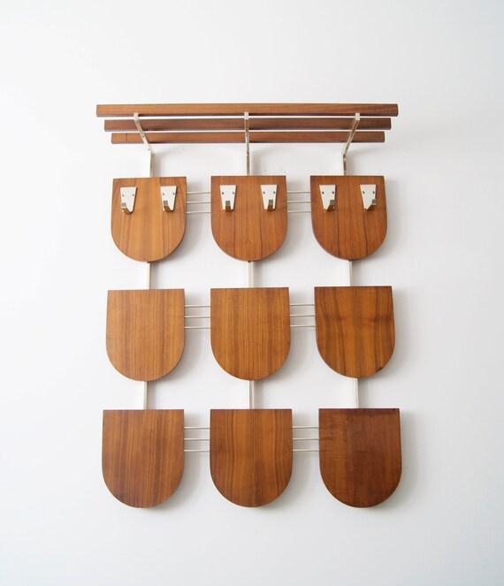 Wall mounted coat rack with walnut parcel shelf, mid century wardrobe, 1960s hallway furniture
