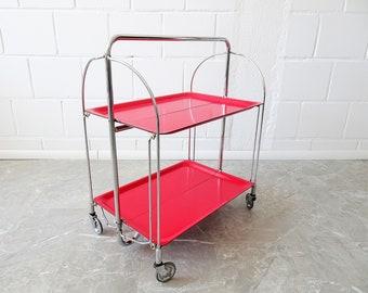 red dinette napkin cart, folding bar cart Mid Century