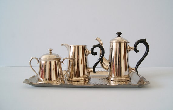 Tea service, art deco Metal coffee service, metal service on tray