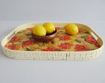 Resopal tray with rose pattern