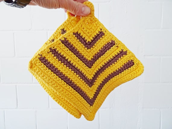 Potholders crocheted in set with brown yellow stripes, retro coasters