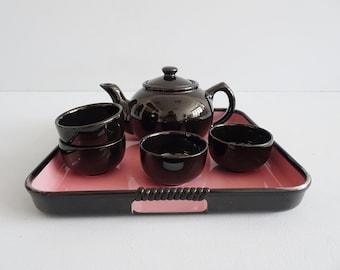 black tea service with tray, mid century service black pink
