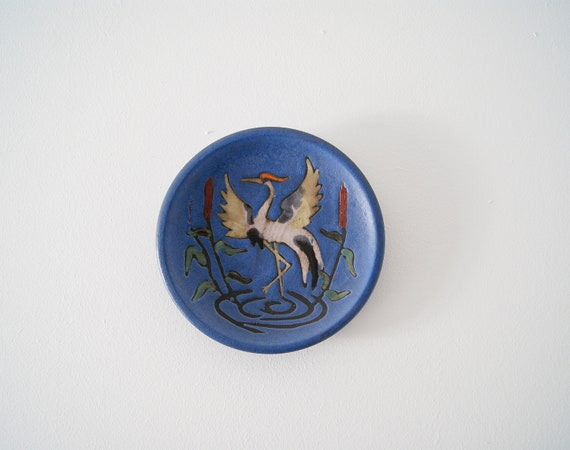 Ruscha ceramic wall plate blue purple bird cranes, wall ceramics Mid Century, picture ceramic 1950s, collection plates