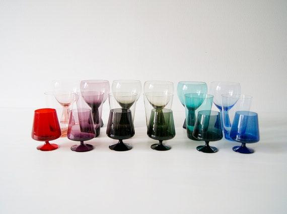 Friedrich Crystal Glass Set 18 pieces, wine glasses, water glasses, liqueur glasses, glass art mid century