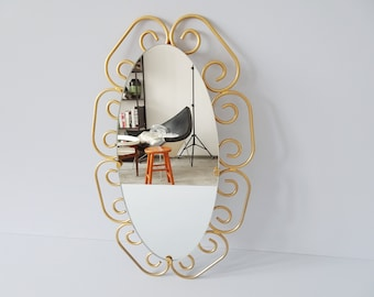 oval mirror gold, mid century wall mirror gold colored, mirror in gold frame