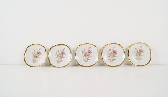Alka art plate set 5-piece with flower decoration, 1950s porcelain, serving bowls, plates, collection plates, wall plates