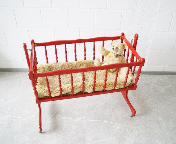 Cradle of wood red, Mid Century child cradle, red cot on rolls