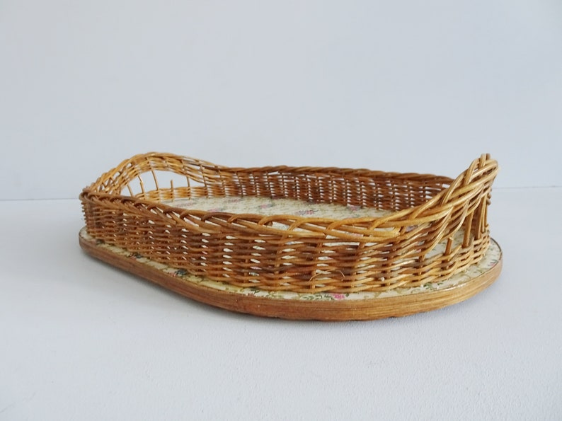 Tray with Handles Rattan Serving Tray with Floral Pattern