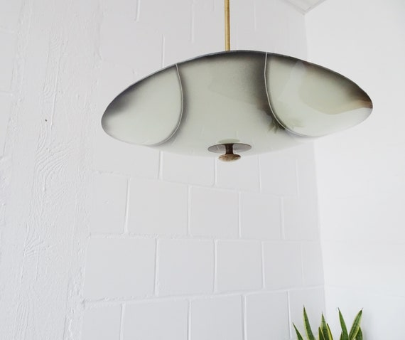 Rod ceiling lamp in glass and brass, plate lamp 1950s